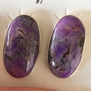 Jewelry - Charoite Sterling Silver Post Earrings